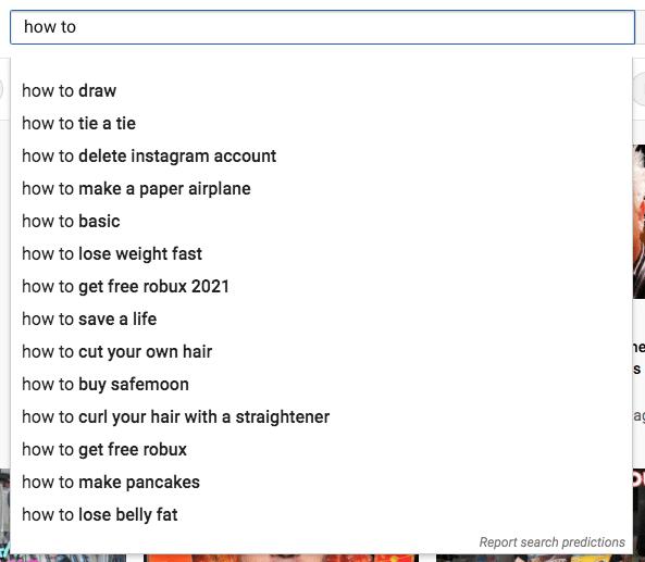 Рейтинг ключевых слов в списке результатов YouTube