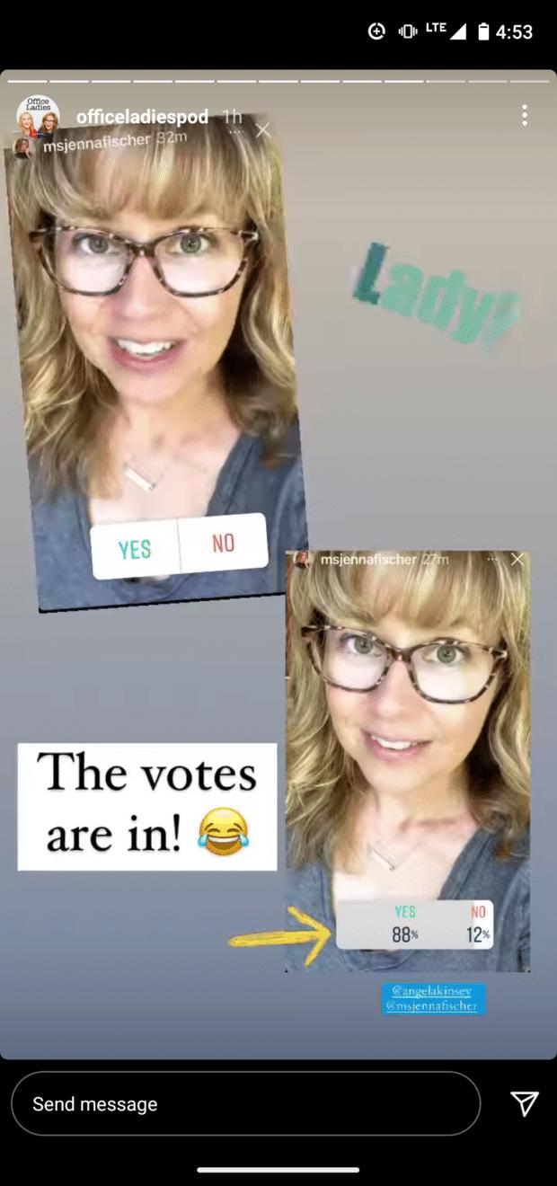 OfficeLadiesPod Instagram Story poll