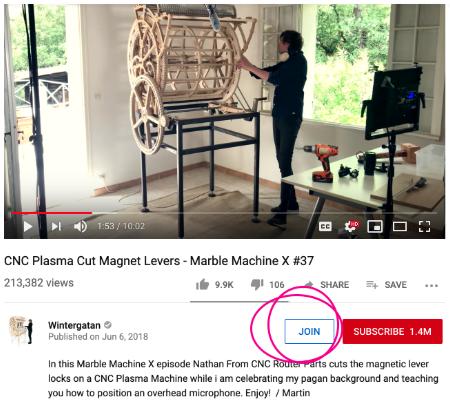 Кнопка «Присоединиться» на канале YouTube