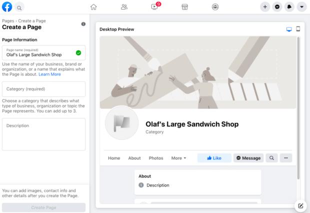 зарегистрируйтесь и создайте страницу в Facebook