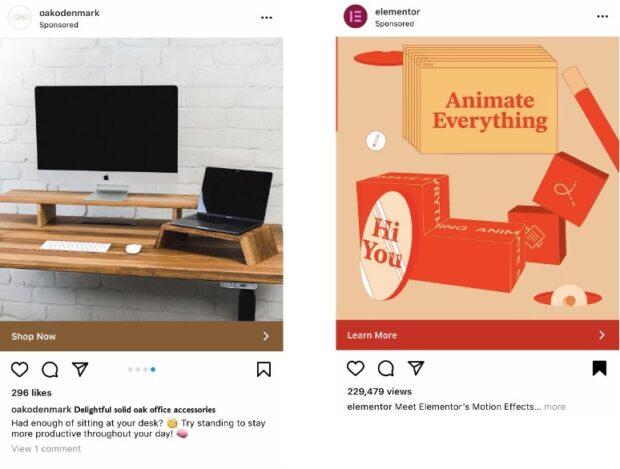 Реклама офисных аксессуаров и эффектов движения в Instagram