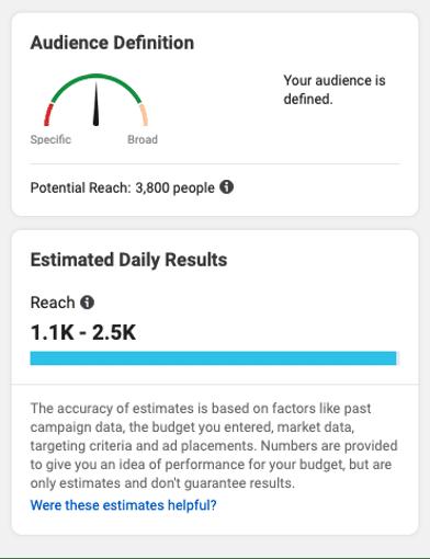 Определение аудитории рекламы в Instagram и расчетные ежедневные результаты