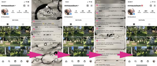 новые подписчики и уведомления о лайках в профиле Instagram