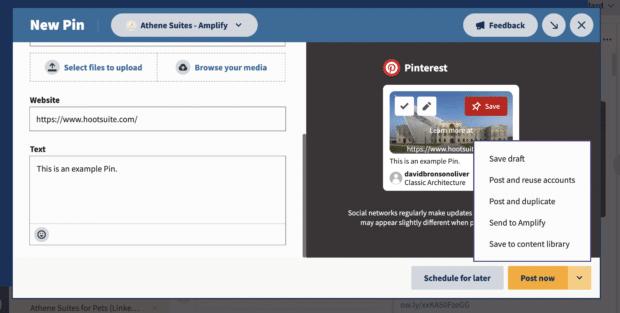 опубликовать сейчас или другие параметры публикации на Hootsuite