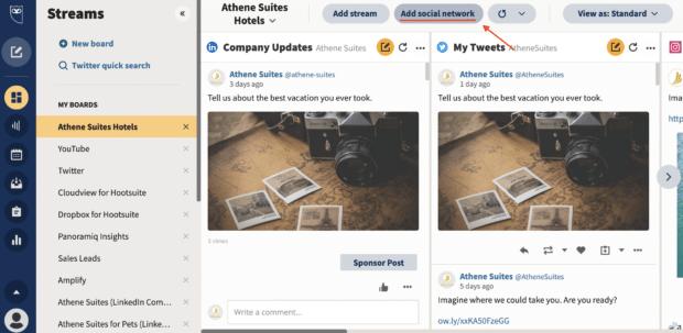 добавьте социальную сеть на панели инструментов Hootsuite