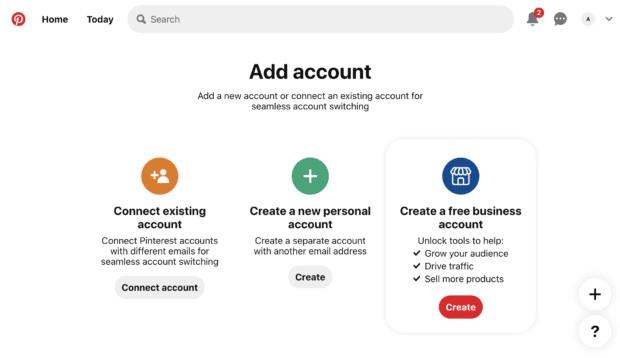создать кнопку в разделе «Создать бесплатную бизнес-учетную запись»