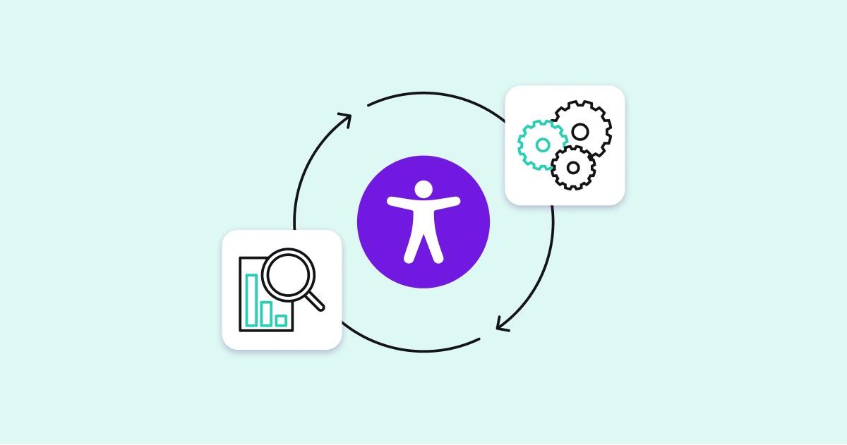 Изображение контура человека в фиолетовом круге, окруженного двумя стрелками, указывающими на непрерывный круг. В правой части круга находится изображение шестеренок, а в левой части - изображение увеличительного стекла, парящего над гистограммой.