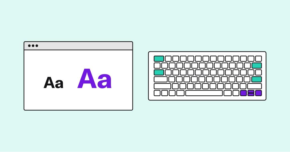 Графика с веб-страницей, отображающей размер шрифта слева и клавиатурой справа.