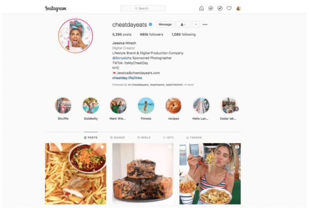 Cheat day ест образ жизни, бренд Instagram, макро-влиятельный человек