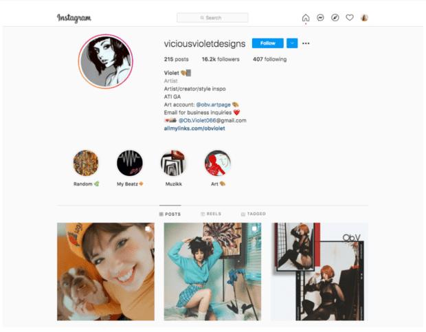 Художник Vicious Violet Designs, микро-авторитет в Instagram