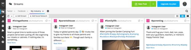 Потоки Hootsuite, настроенные для мониторинга хэштегов в социальных сетях