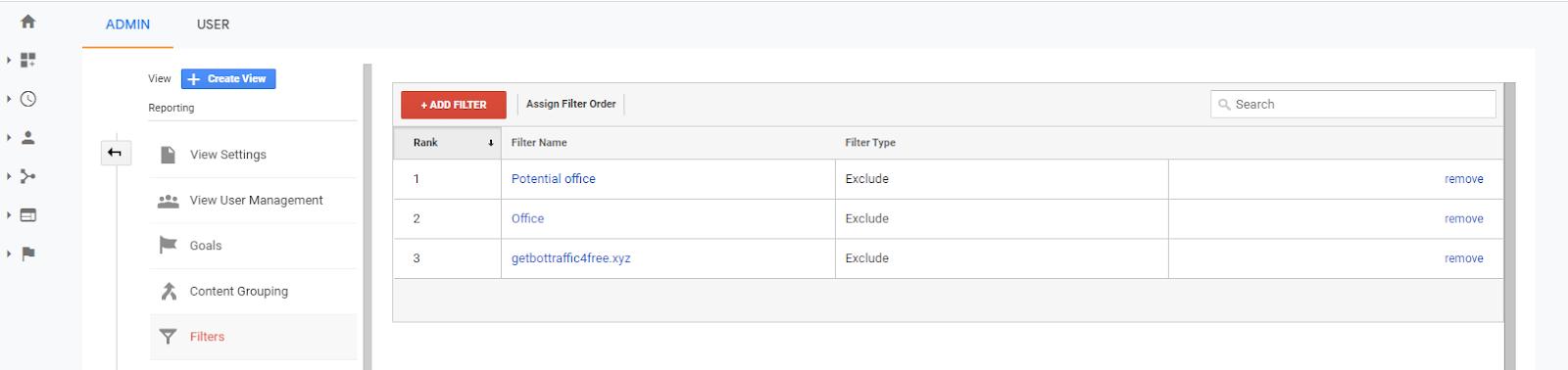 Снимок экрана с примерами фильтров Google Analytics.