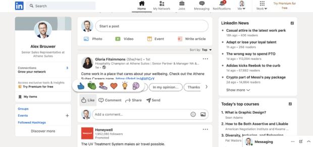 реакции, комментарии и публикации в LinkedIn