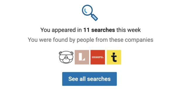 количество раз, когда профиль LinkedIn появлялся в результатах поиска за неделю