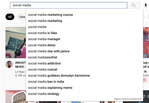 Автоматические предложения панели поиска YouTube для ключевого слова