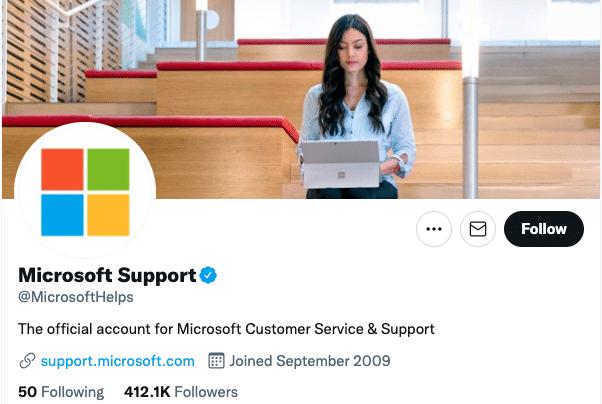 учетная запись службы поддержки Microsoft в Твиттере