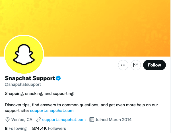 аккаунт поддержки Snapchat в Twitter