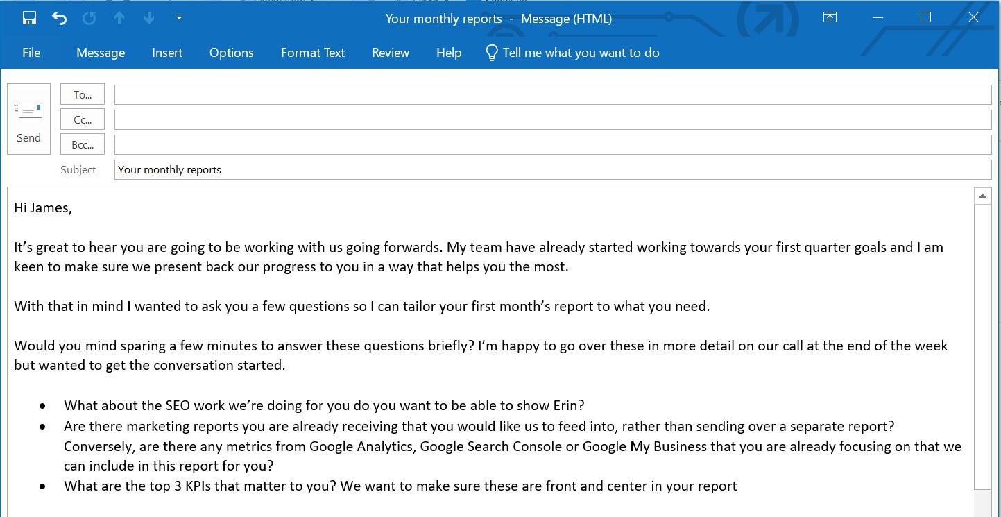 Пример электронного письма для заинтересованной стороны, предназначенное для того, чтобы помочь понять, что должен охватывать маркетинговый отчет.